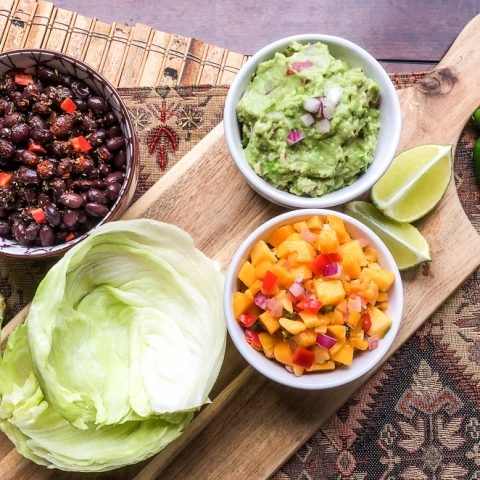 Spicy Black Bean Taco Wraps with Fresh Guacamole